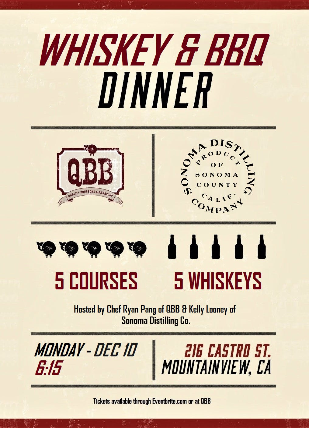 BBQ Dinner with Sonoma Distilling Co. @ QBB