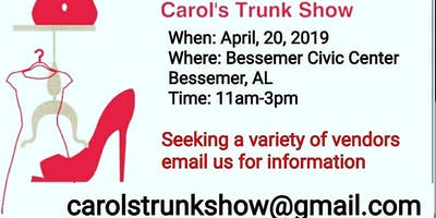 Vendors Wanted for our 3rd Vendor Spring Show at Bessemer Civic Center