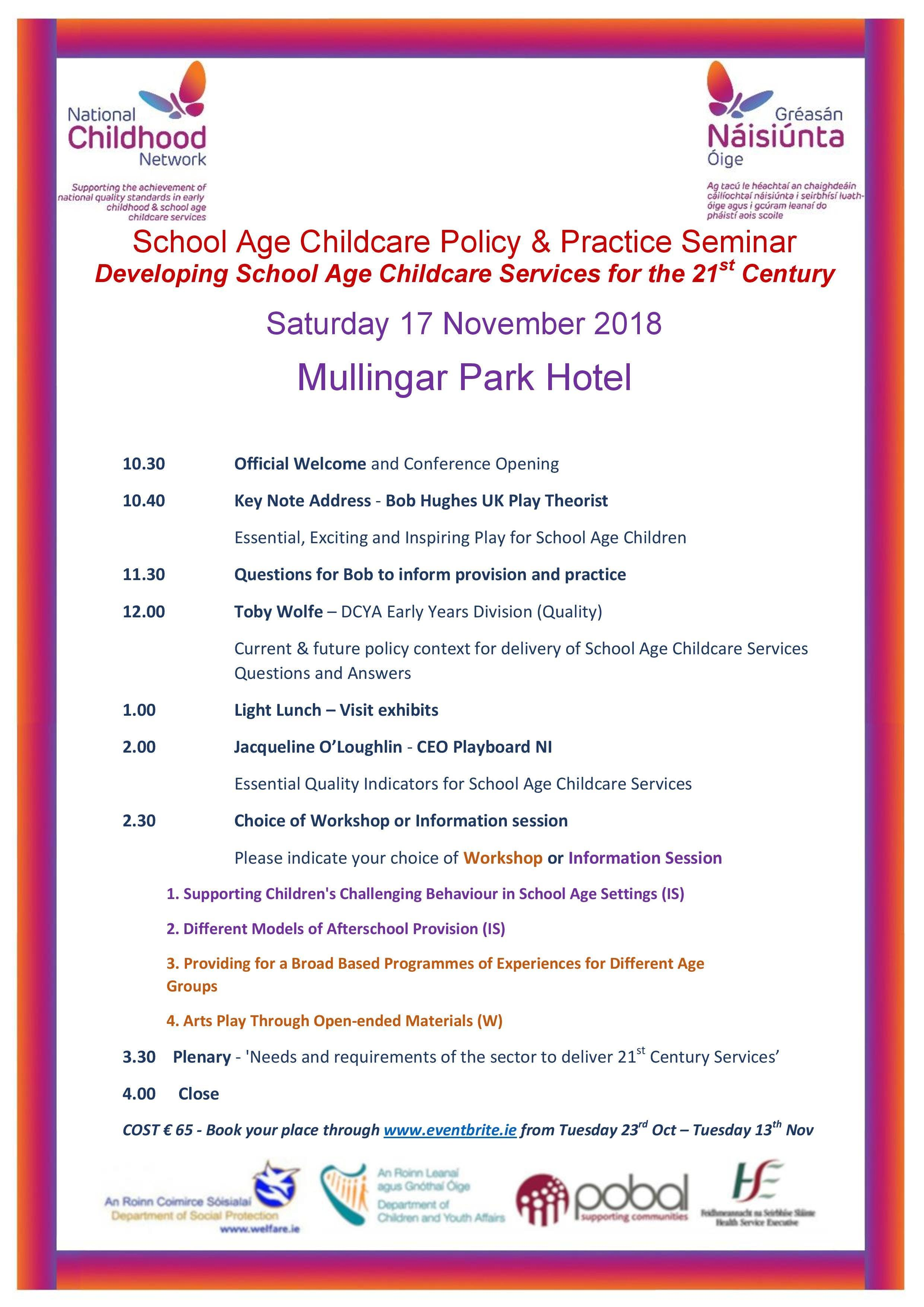 School Age Childcare Policy & Practice Seminar