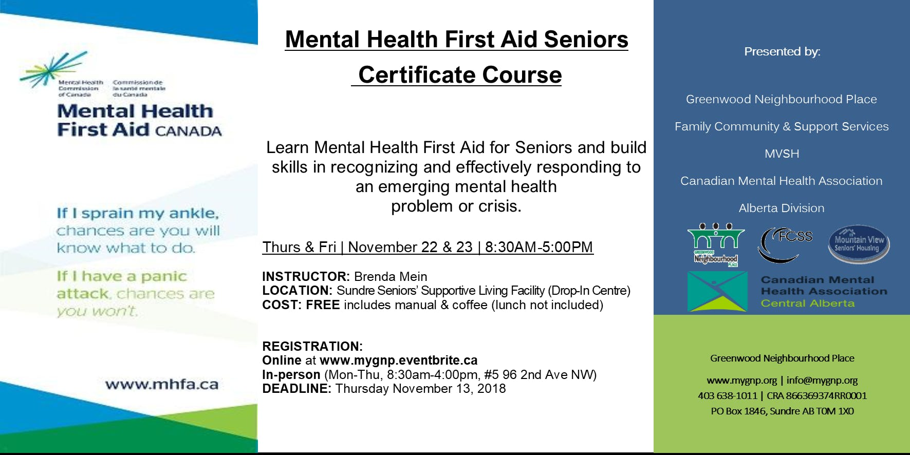 Mental Health First Aid Seniors Certificate Course At Sundre Seniors