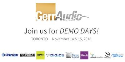 GerrAudio DEMO DAYS Toronto!  Nov 14 - 15, 2018