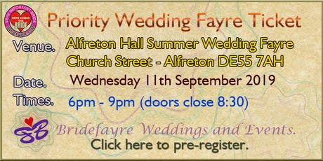 Alfreton Hall September 2019 wedding evening tickets