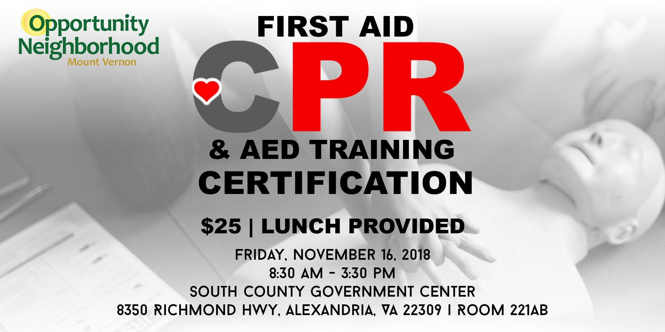 Opportunity Neighborhood Mount Vernon Cpr Certification At South