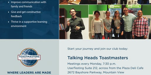 Public Speaking and Leadership - Talking Heads Toastmasters