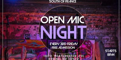 **FREE ADMISSION** Open Mic Night at The South of France