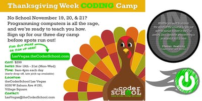 No School November Thanksgiving Coder Camp $50 Virtual Coupon!