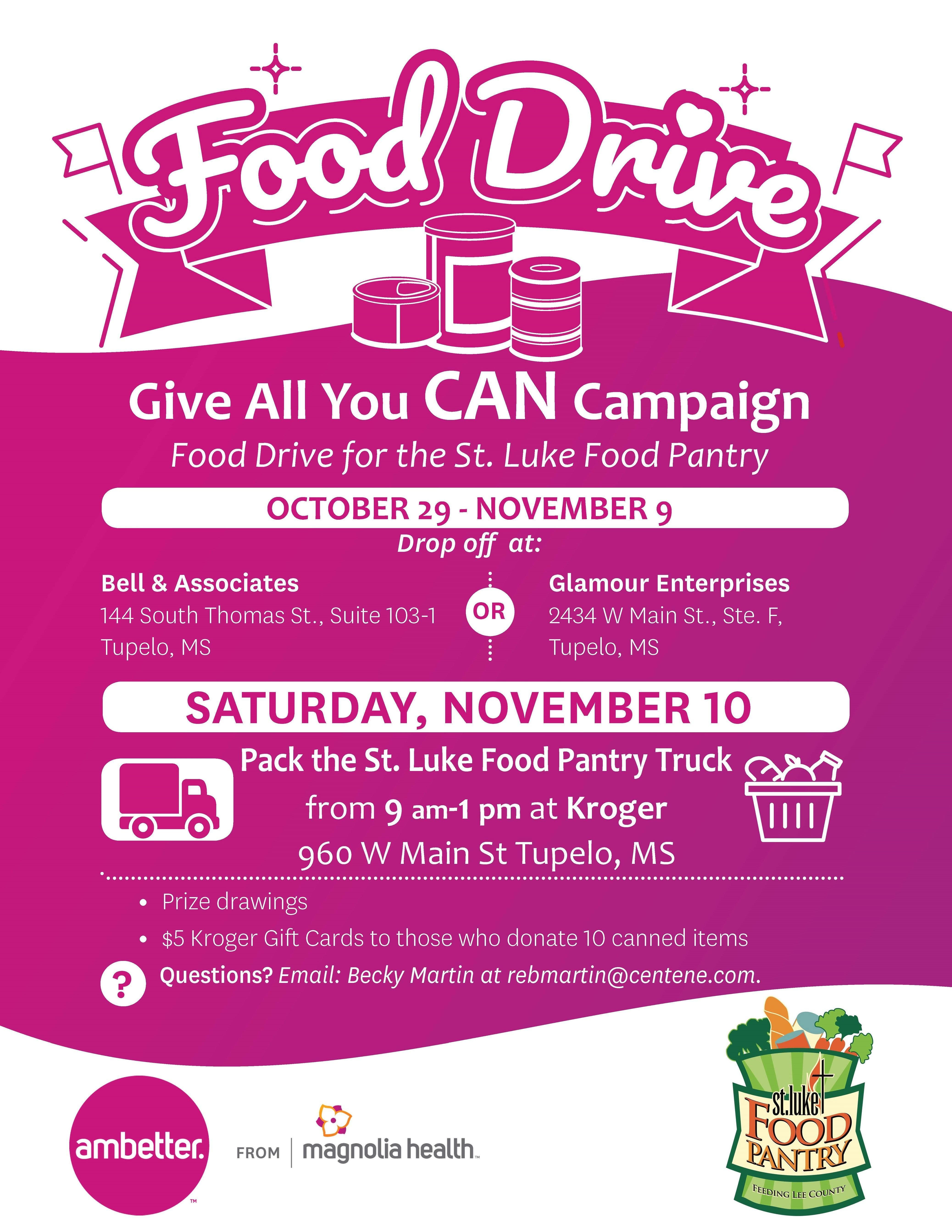 Give All You Can Food Drive At Kroger Tupelo