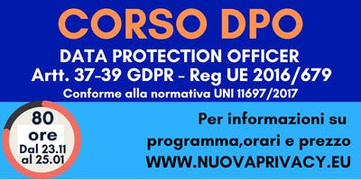Corso di formazione per DPO (Data Protection Officer) e Privacy Specialist