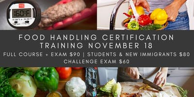 Food Handling Certification Training November 18