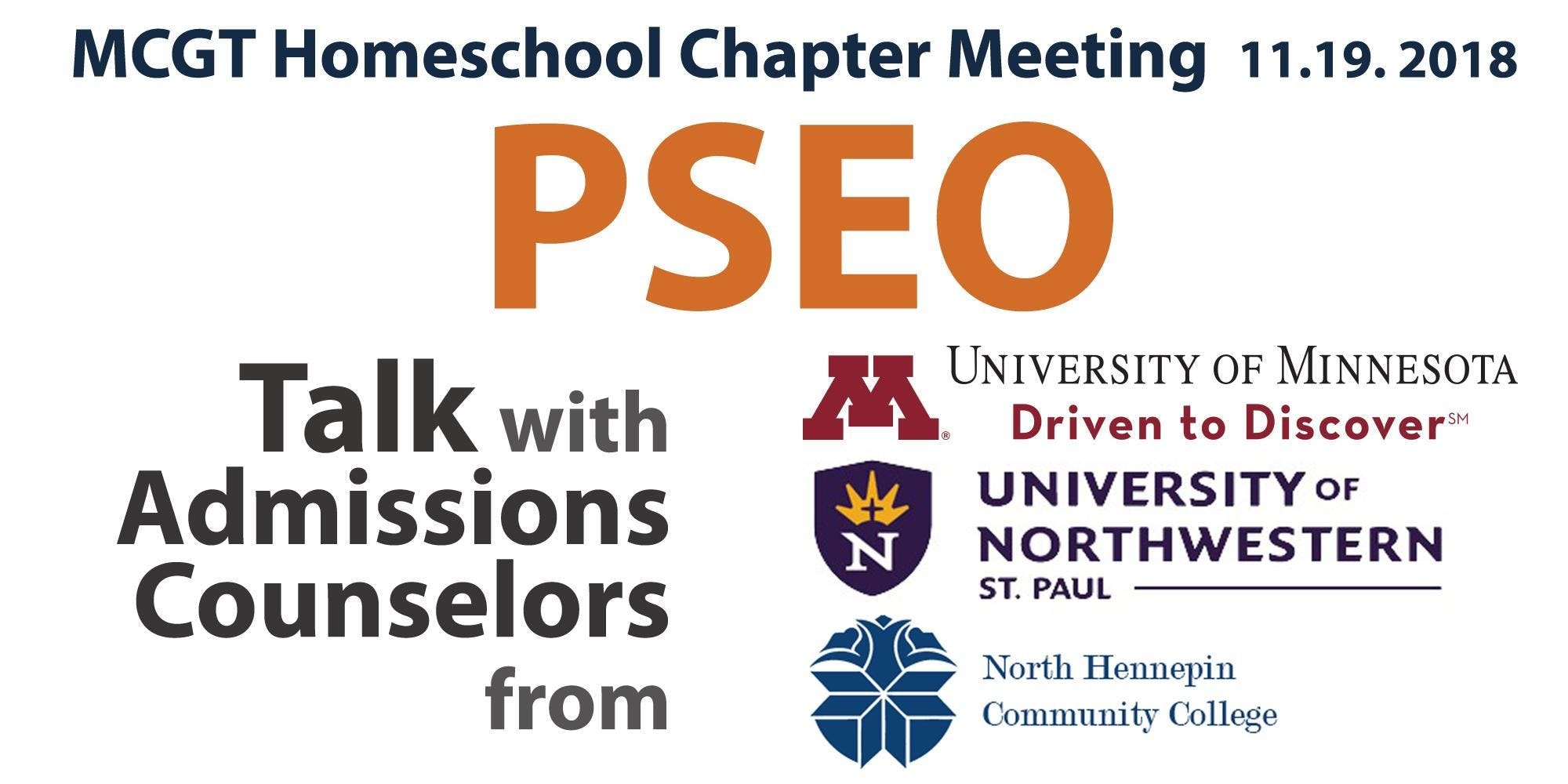 MCGT Homeschool Chapter Meeting-  PSEO Talk with Admissions Counselors