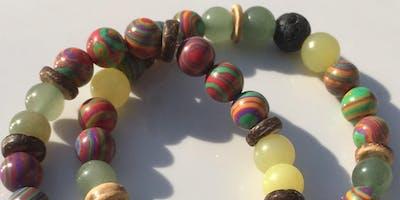 Coconut Quartz Gemstone Aromatherapy Bracelet making Workshop!