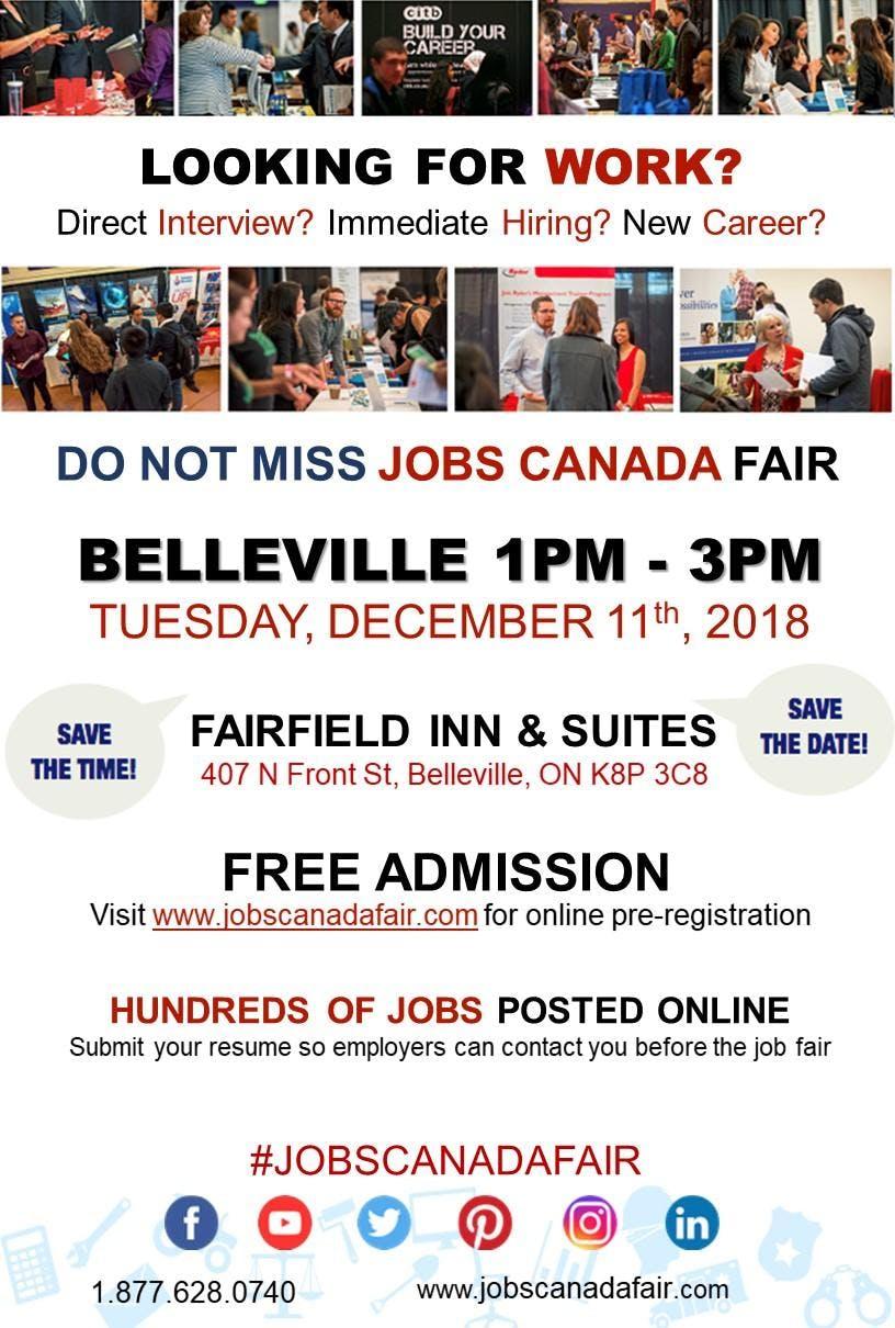 Free Belleville Job Fair – 11th December, 2018