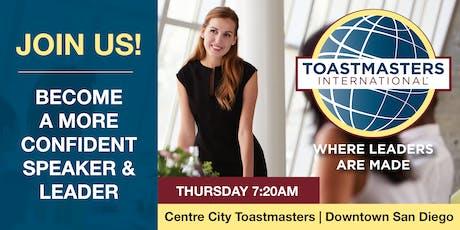 Public Speaking & Leadership; Toastmasters Meeting (Downtown, San Diego) tickets