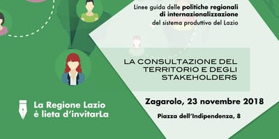 Consultazione Linee Guida politiche regionali di internazionalizzazione - Zagarolo