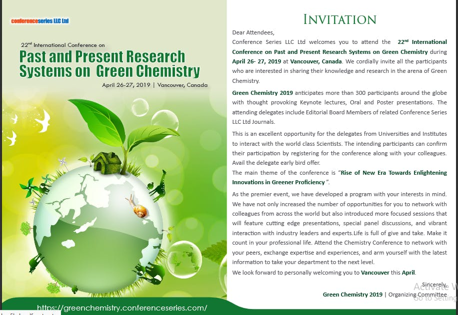 22nd International Conference on Past and Present Research Systems on Green Chemistry (CSE)