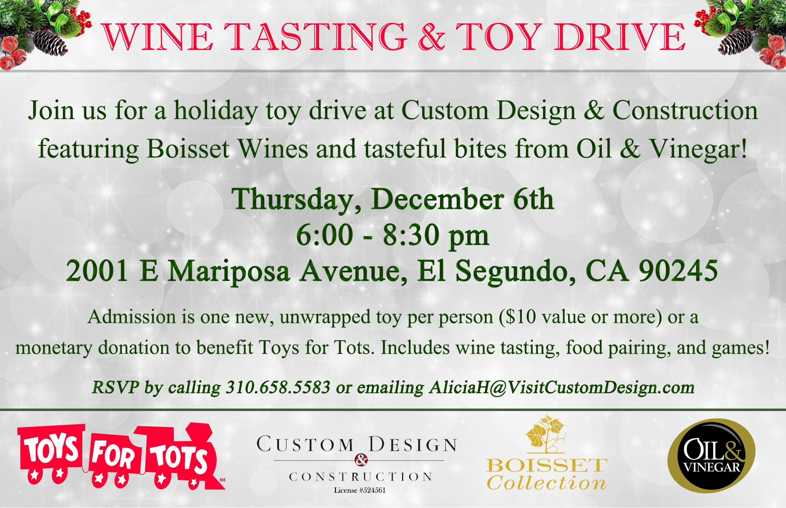 Wine Tasting Toy Drive At Custom Design Construction El Segundo