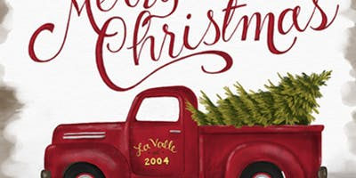 Old Truck With Christmas Tree Painting.Old Red Truck At Christmas Painting South Boston