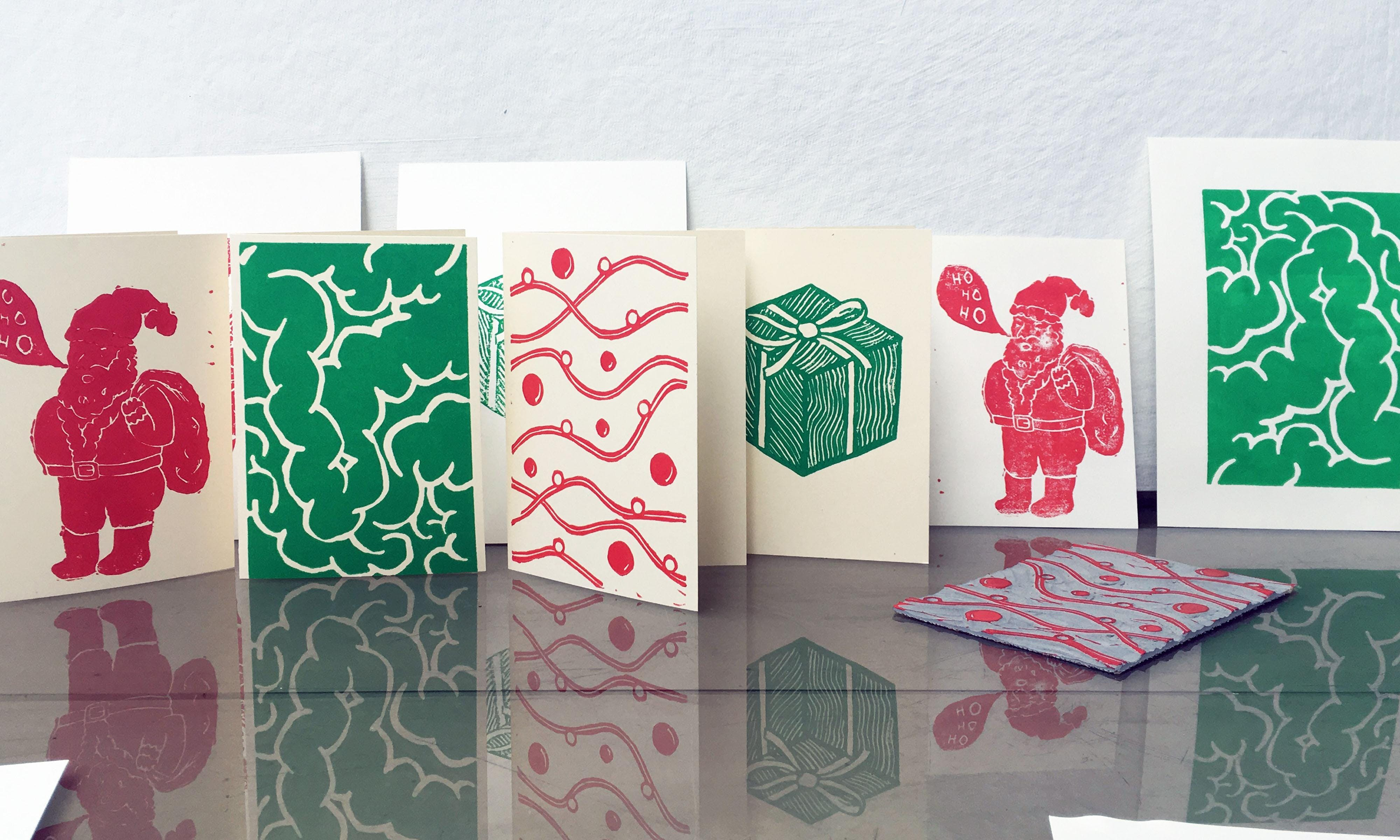 Lino Printed Christmas Cards with Temple Prints at Studio 73, London