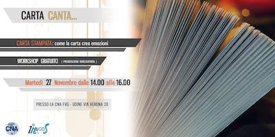 """Workshop gratuito per le PMI: """"CARTA CANTA"""" CARTA STAMPATA: COME LA CARTA CREA EMOZIONI"""