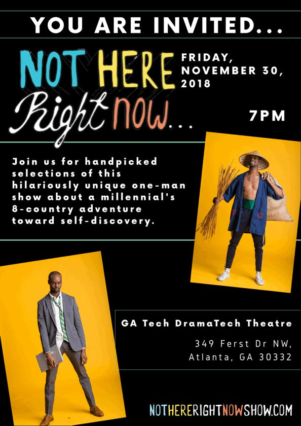 Special Presentation Of Not Here Right Now A Live One Man Show By