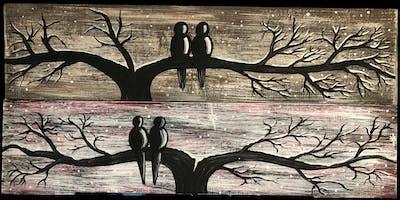 Silhouette Birds Barn Board by Sheri Gillard