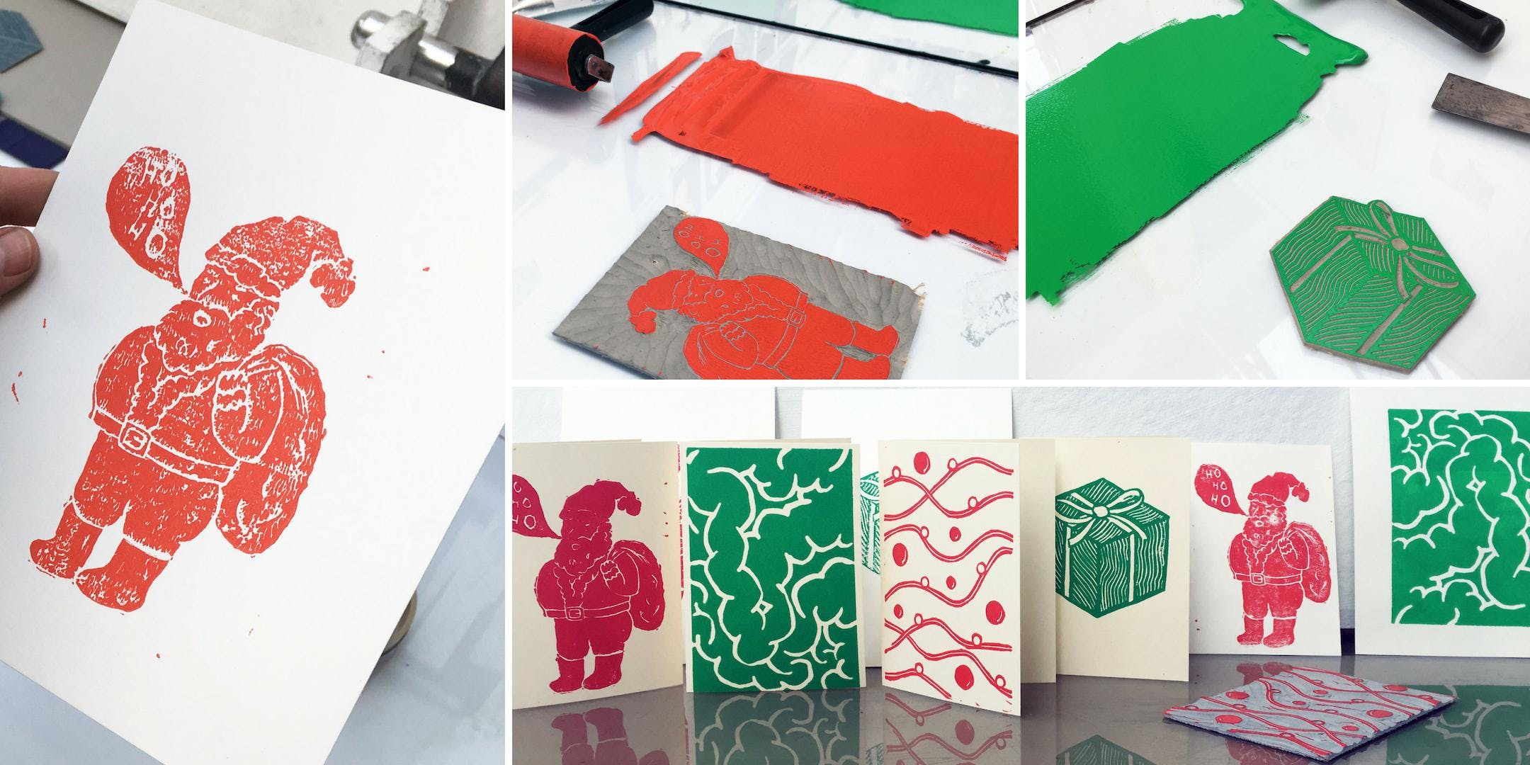 Learn to Lino Print Your Own Christmas Cards - Peckham Levels - 7 ...