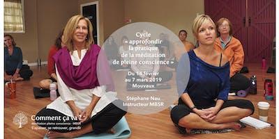 """Cycle 4 semaines \""""approfondir la méditation de pleine conscience\"""" post MBSR"""