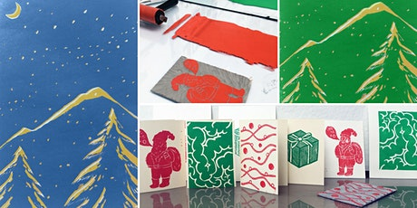 Lino print your own Christmas Cards tickets