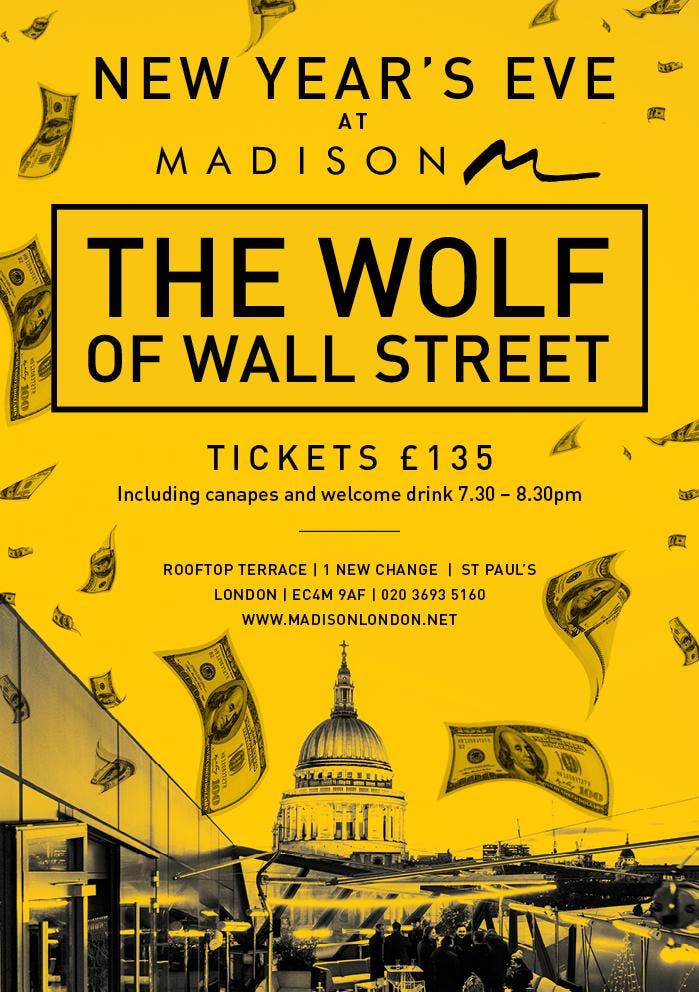 New Year's Eve at Madison London: Wolf of Wall St