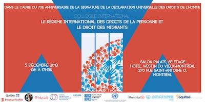 Conférence - Le régime international des droits de la personne et le droit des migrants