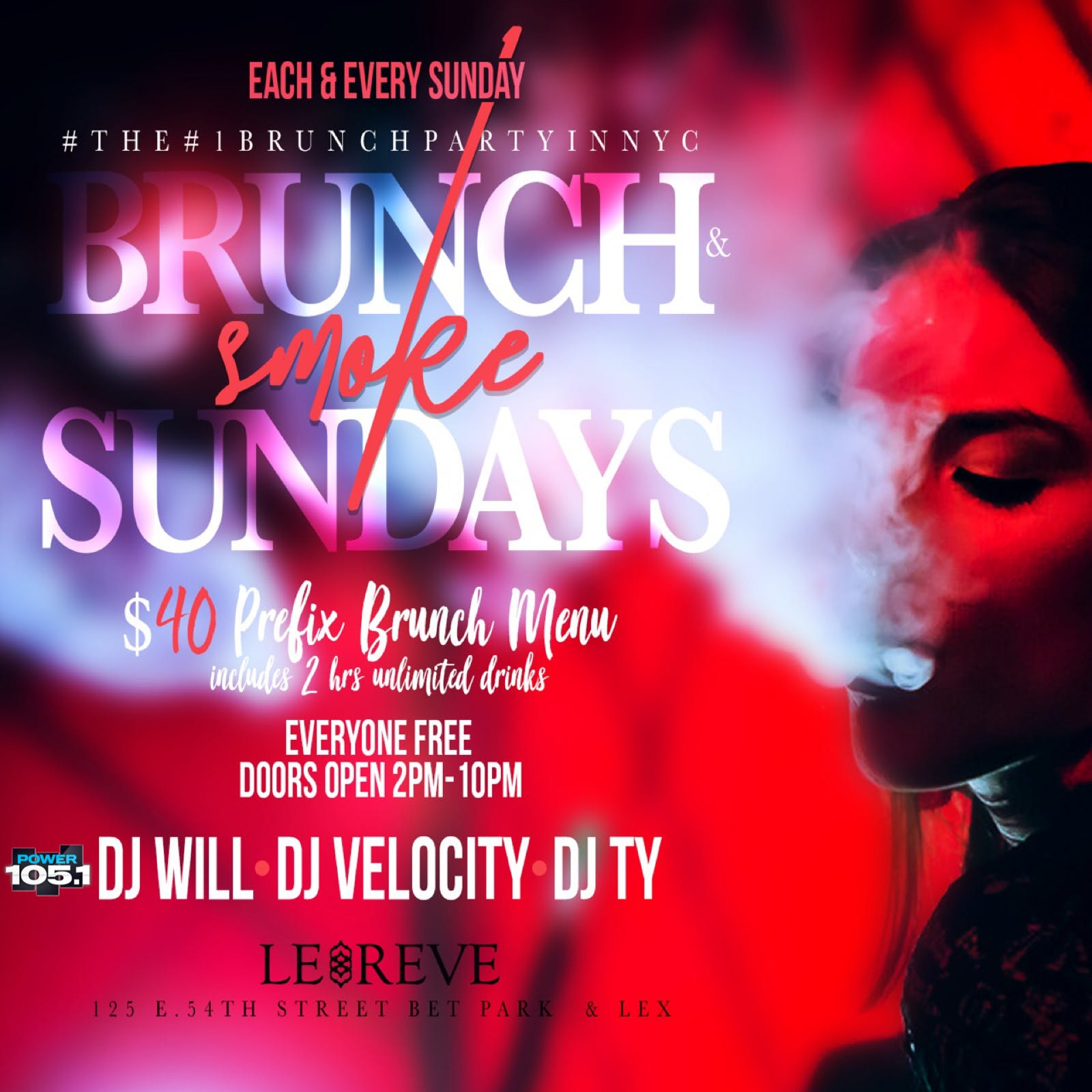 TDE- BRUNCH N SMOKE - BRUNCH | HOOKAH| DAY PARTY -LE REVE - SUNDAY FUNDAY
