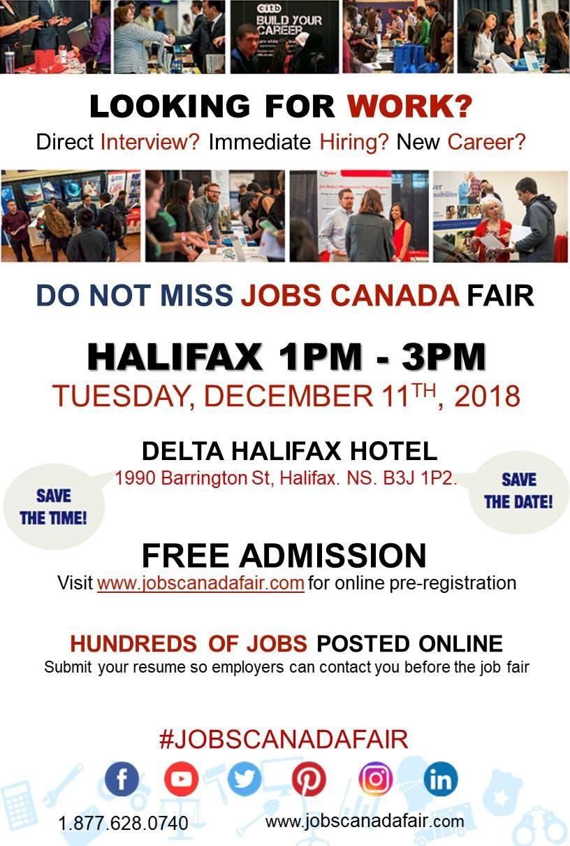 Free: Halifax Job Fair – December 11th, 2018