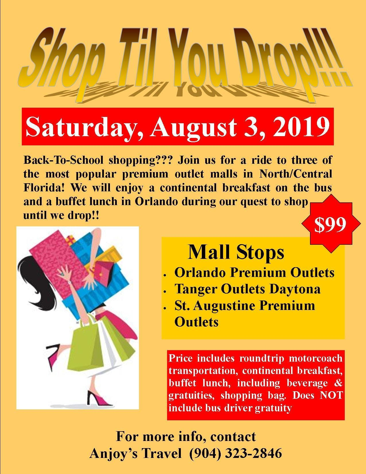 Shop Til You Drop-Fall/Back-To-School Bus Trip at Orlando