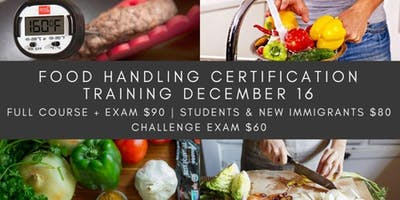 Food Handling Certification Training December 16