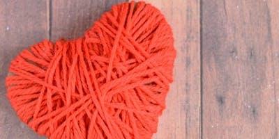 Yarn wrapped hearts