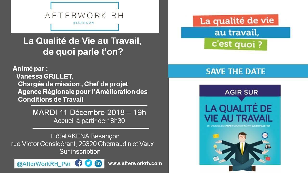 AfterWork RH Besançon : Qualité de Vie au Travail, de quoi parle t'on?