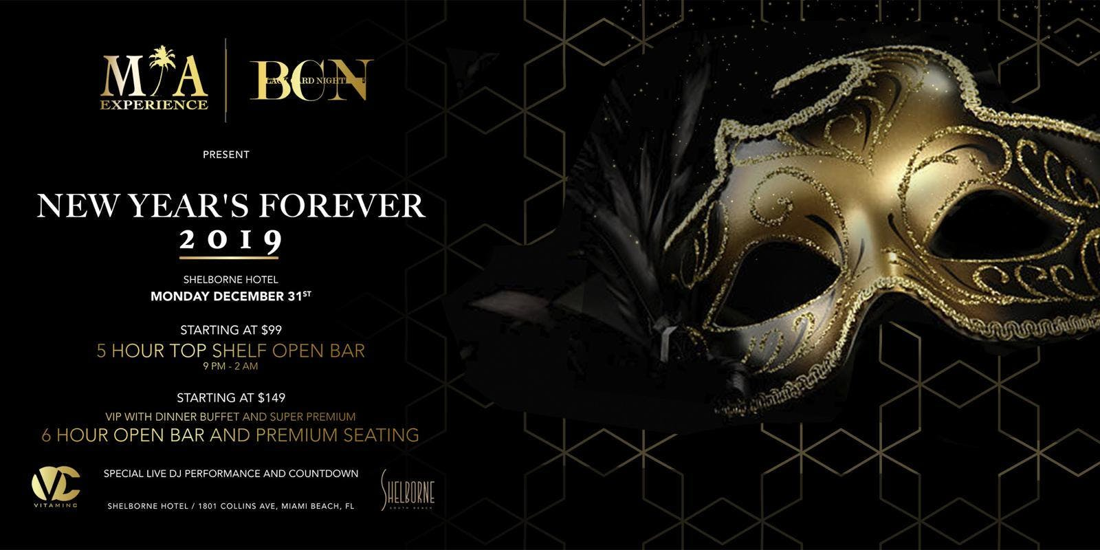 Shelborne NYE 2019 in Miami with OPEN BAR