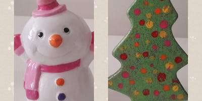 Homeschoolers Christmas Ceramic Painting with Ott