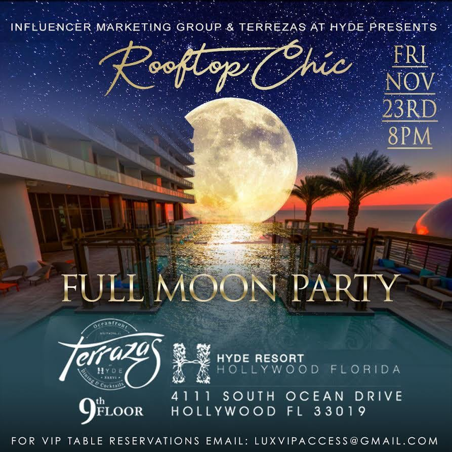 Rooftop Chic Full Moon Party Hyde Hotel Hollywood At