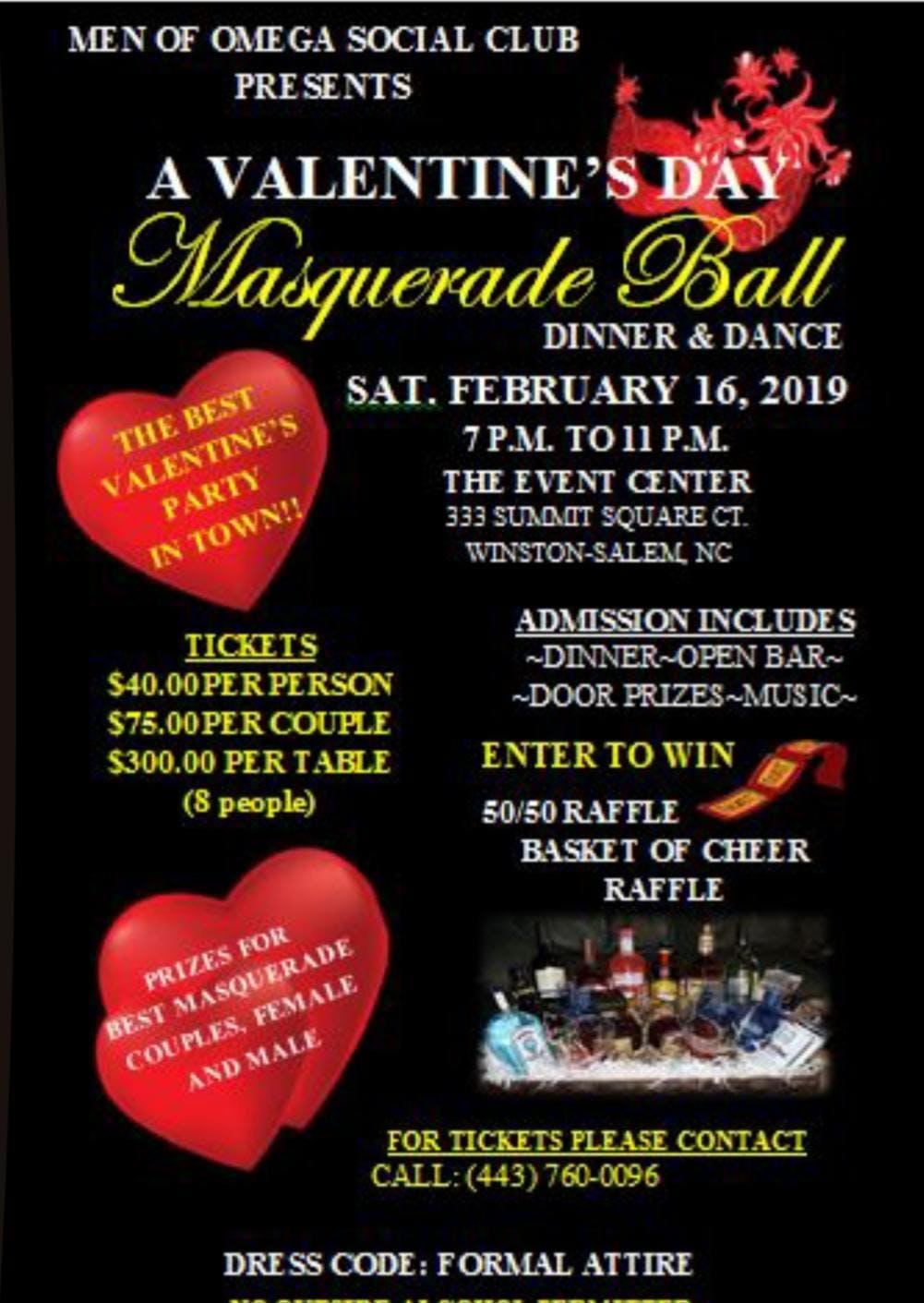 Valentines Masquerade Ball at The Event Center, Winston Salem