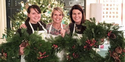 Holiday Wreath Making in the Compass Room at Mile Marker One