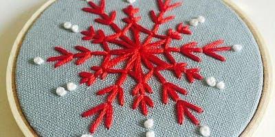 Vintage Snowflake Embroidery Ornament  Workshop