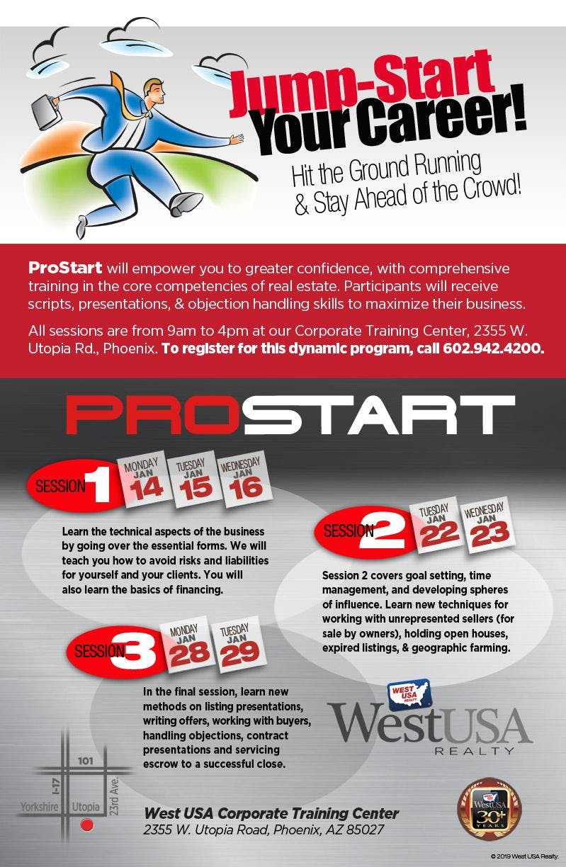 ProStart Program: 7 Days Over Three Weeks Starts January 14 - 29