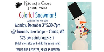 Kids and a Canvas Paint Night - COLORFUL SNOWMAN!