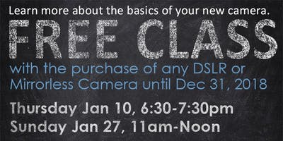 Get To Know Your New Camera Class - Free With Camera Purchase