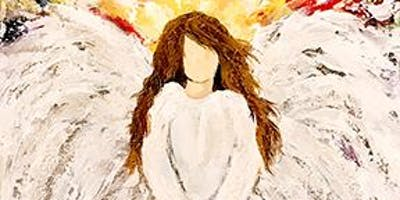 """Colorful Textured Angel on 12x24"""" Vertical Canvas- Painting Class - Spencer"""