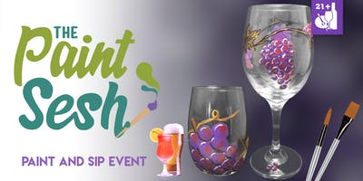 "Paint Night - Riverside, CA – ""Through the Grapevine"" Wine Glasses"