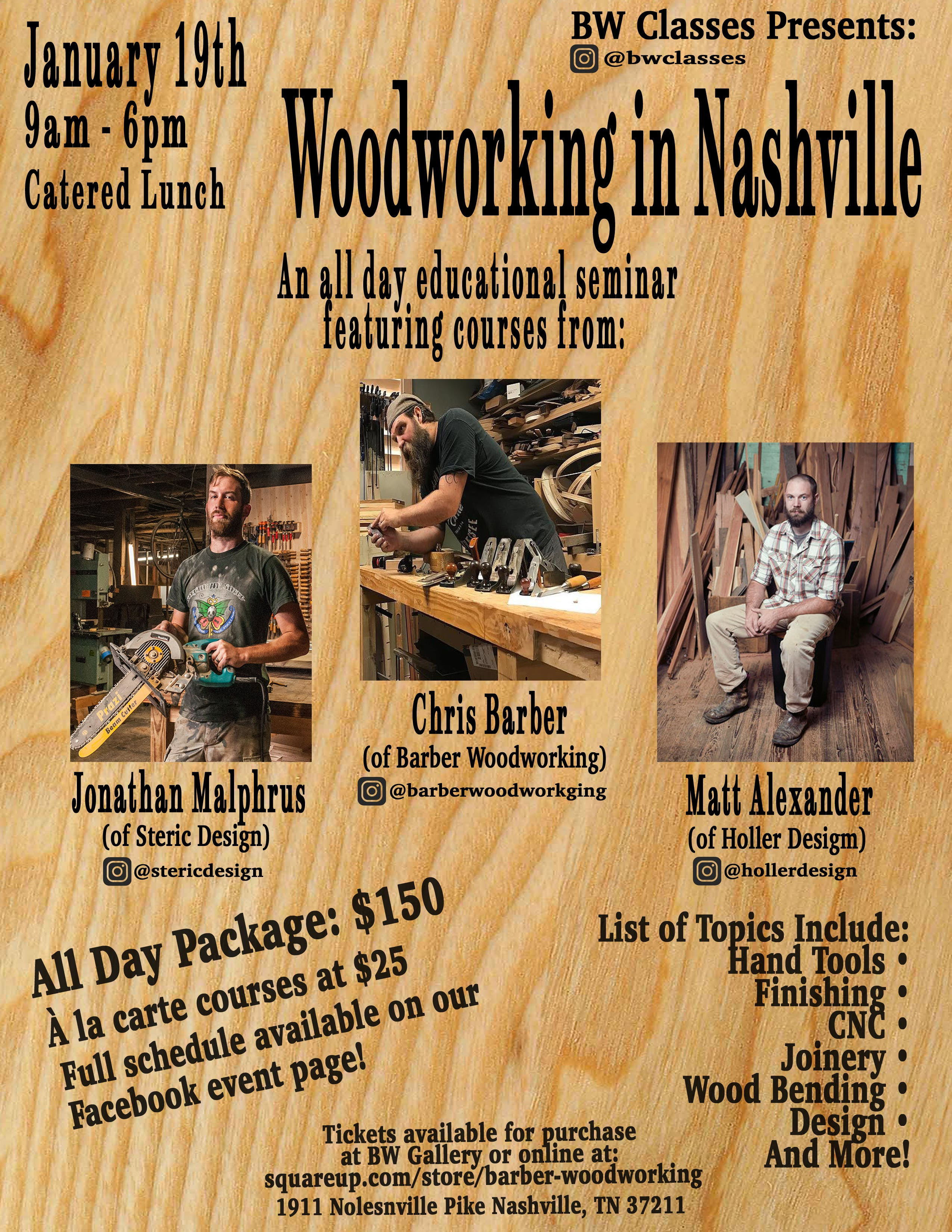 Woodworking In Nashville Presented By Bw Classes 19 Jan 2019