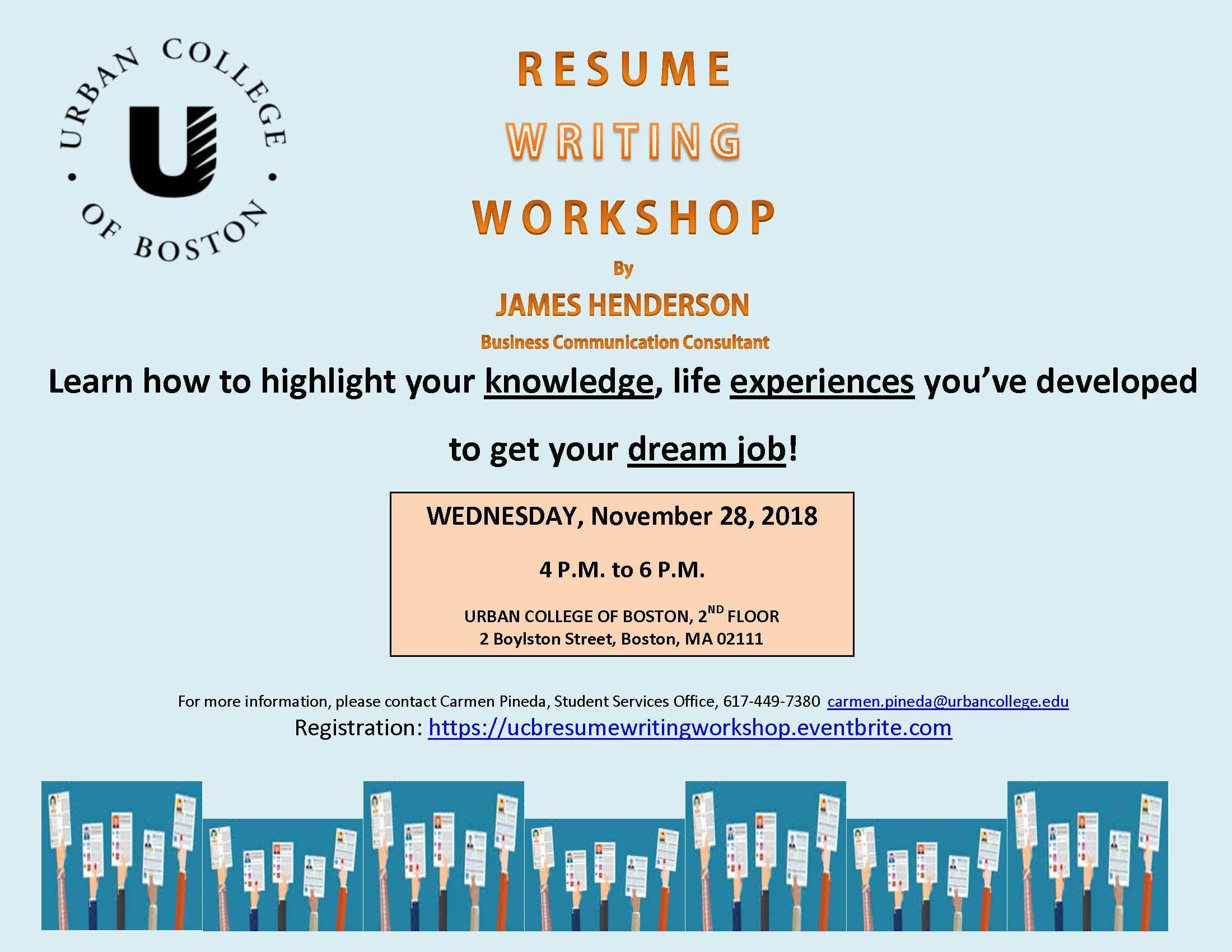 resume writing workshop at urban college of boston boston