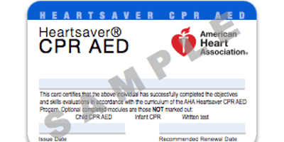 AHA Heartsaver CPR/AED (certification)
